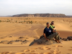 Enjoying the views of the Sahara high above our campsite; Tiguelguemine