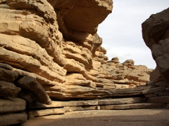 Natural stone formations in an old river bed; Tamgs Kis