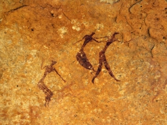 Well preserved rock art of human figures; Tamgs Kis