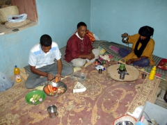 The guys prepare our dinner at Assekrem