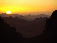 Sun setting over Assekrem