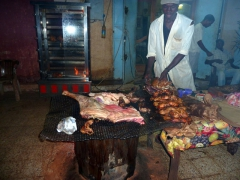 Lamb and chicken on the grill at a local diner; In Salah