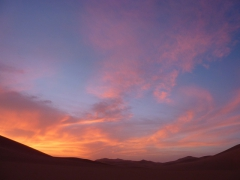 Sunset over the sand dunes of Mhajeba