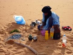 Abdsahlem making tea after breakfast; Mhajeba