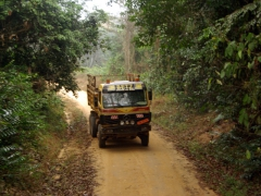 Its a tight squeeze on Cameroon's dirt roads