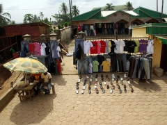 Street side clothes and shoes for sale; Mamfe