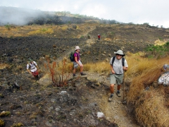 Becky, Bree and Michael tackling Mt Cameroon