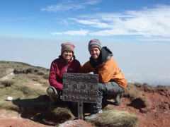 Becky and Robby smile broadly after summiting Mt Cameroon, Africa's 3rd highest mountain at 4095 meters