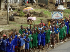 Dozens of school kids preparing for Youth Day (February 11), a National Holiday in Cameroon