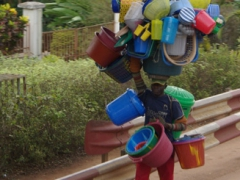 Plastic bucket vendor; Yaounde