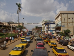 Yaounde traffic jam, a common occurrence in the city center