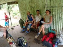 Matt, Mike and Becky take a breather at Hut 1; Mt Cameroon trek
