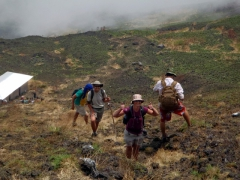 We are all still smiling despite sore thighs; Mt Cameroon trek