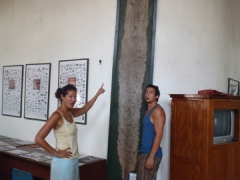 Becky and Luke are shocked to see this massive snake skin; Limbe Wildlife Center