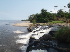 Kribi's Lobe waterfall enters the ocean directly