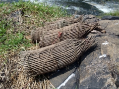 Traditional fishing traps; Lobe Waterfall