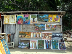 Colorful paintings for sale; Kribi