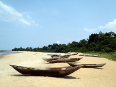 Pirogues lining the beach; Kribi