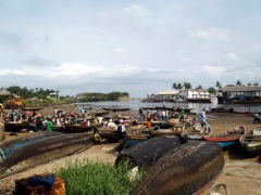 Waterfront view of Kribi's fish market