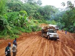 Just a glimpse of the road conditions Congo truck drivers have to contend with