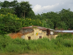 A deteriorating Congolese building; Doussala