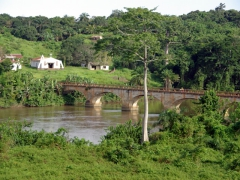 The bridge spanning the river in Nyanga