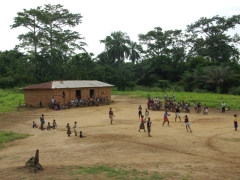 Nyanga school kids playing in front of spectators