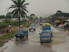 Once we hit the outskirts of Pointe Noire, traffic increased and vehicles struggled to navigate through puddles from the recent rain