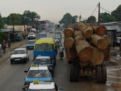 A logging truck looks a bit out of place in bustling Pointe Noire