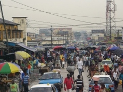 The crowded street of the central market; Pointe Noire