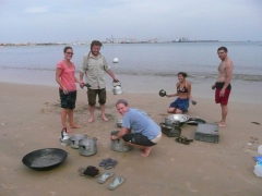 Sara, Sean, Ruth, Becky and Dowelly get stuck cleaning pots and pans during truck clean; Pointe Noire