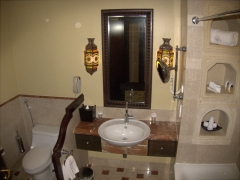 View of our posh bathroom at the Kempinski Hotel