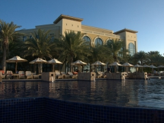 Dusk view of the infinity pool; Kempinski Hotel
