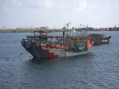 Typical Djiboutian boat (the wooden siding allows for cargo to be stacked up precariously high)