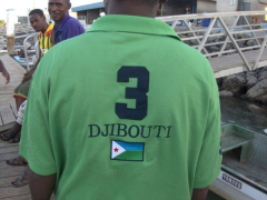 A local showing his Djibouti football pride