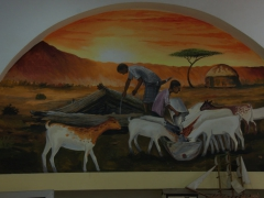 Painted scene inside the tiny tourism bureau