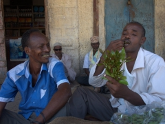 Meanwhile, the men sit around and chew qat all day. Here, our newfound friends demonstrate the proper way to chew