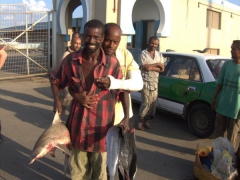 Fisherman proudly displaying his catch of the day at the Grande Pecherie (Fish Market)