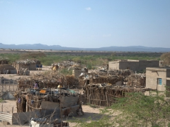 Makeshift dwellings are a common sight in Djibouti