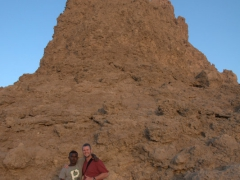 Omar and Robby at the la Grande Cheminee (the Big Chimney), the tallest limestone chimney of Lac Abbe