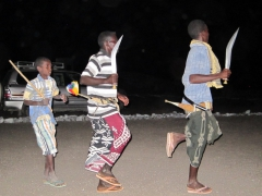 Afar nomads dance with their jiles (curved double edged knives) that are always worn around their waists