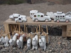 Pumice (volcanic rock) souvenirs for sale at Dimbya Canyon