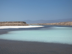 Our first view of Africa's lowest point (515 feet below sea level), the lovely Lac Assal