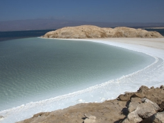 View of a crystallized salt beach; Lac Assal