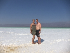 Salt has crystallized all over us after our quick dip in Lac Assal