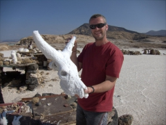 Robby holds up a heavy cow salt skull; Lac Assal