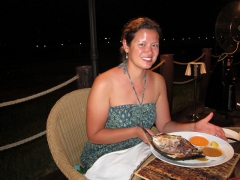Becky shows off her favorite meal in Djibouti, the poisson yemenite, at the very excellent Bankouale restaurant at Kempinski Hotel