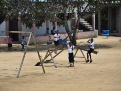 Muanda school children playing in the school ground