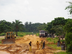 Construction workers in Muanda working on the road