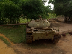 A remnant of DRC's civil war, a tank by the side of the road outside Muanda